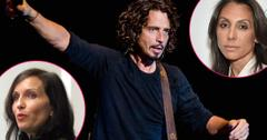 Chris Cornell wears a black shirt and has a guitar around his chest.