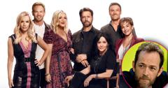 Inset of Luke Perry with Main of Tori Spelling, Brian Austin Green, Jennie Garth, Ian Ziering, Jason Priestly, Shannen Doherty 'BH90210' Cancelled After Just One Season