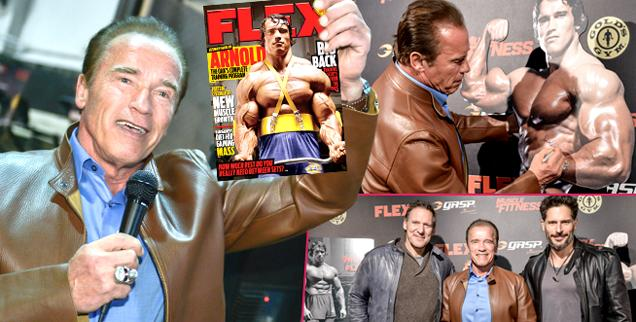 //flex arnold schwarzenegger celebrates bodybuilding cover wide