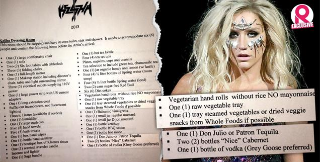 //kesha dressing room tour demands barely eating only drinking tequila vodka alcohol wide