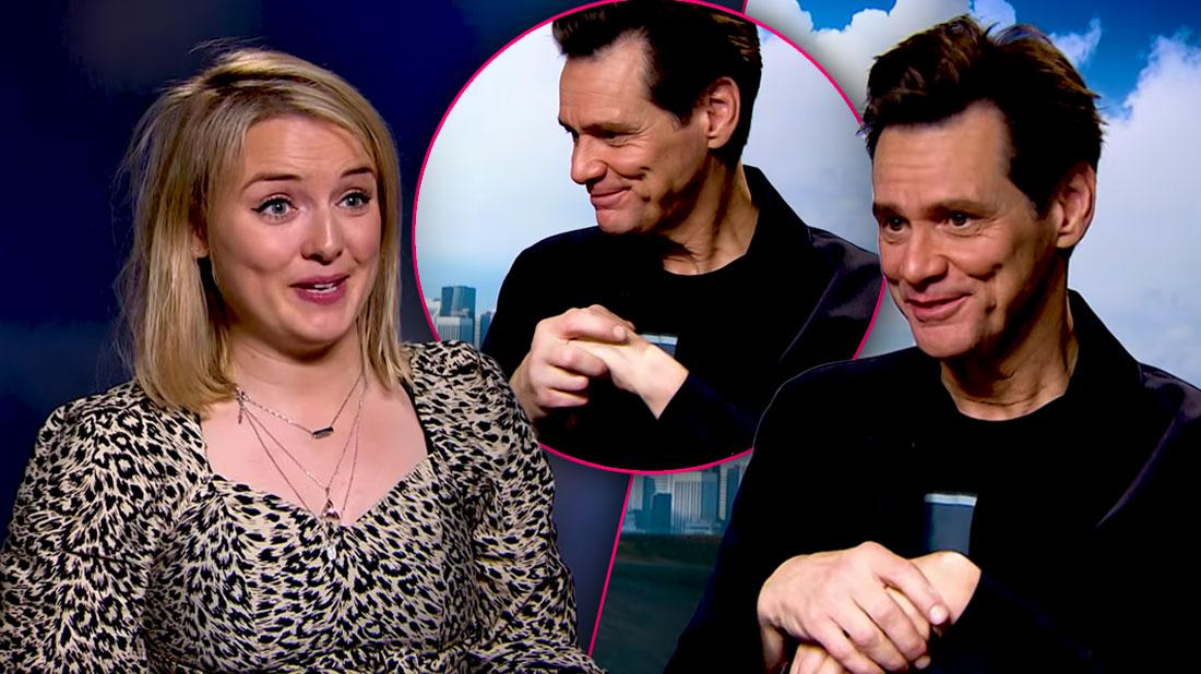 Jim Carrey looking mean, Charlotte Long of Heat Magazine, Jim Carrey Says Doing Female Reporter Is On His Bucket List