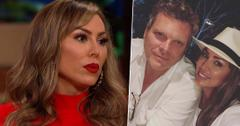 Kelly Dodd Wearing Red Dress Looking Upset With Inset of Brian Reagan and Kelly Dodd Smiling