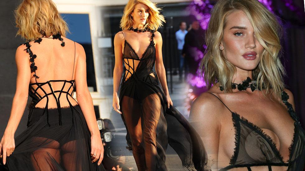 Rosie Huntington Whiteley Nip Slip Sheer Gown