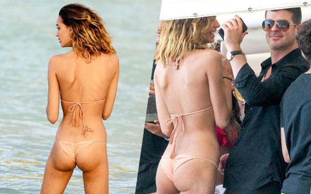 Robin Thicke April Love Geary Dating Bikini Beach Photos