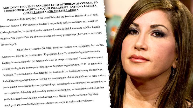 //jacqueline laurita legal team pleads drop client bankruptcy rhonj fraud pp sl