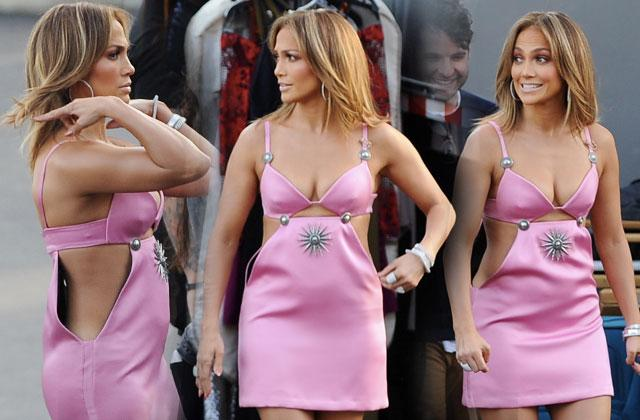 Jennifer Lopez Boobs Legs Pink Dress