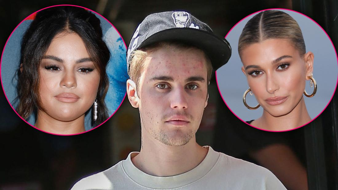 Justin Bieber Looking Serious Wearing Black Cap with Insets of Selena Gomez and Hailey Baldwin Looking Serious