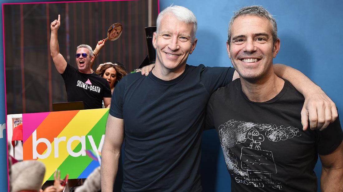 Andy Cohen and Anderson Cooper in Dark T shirts Inset Andy Cooper in Black TShirt Death=Silence On Float at Gay Pride Parade