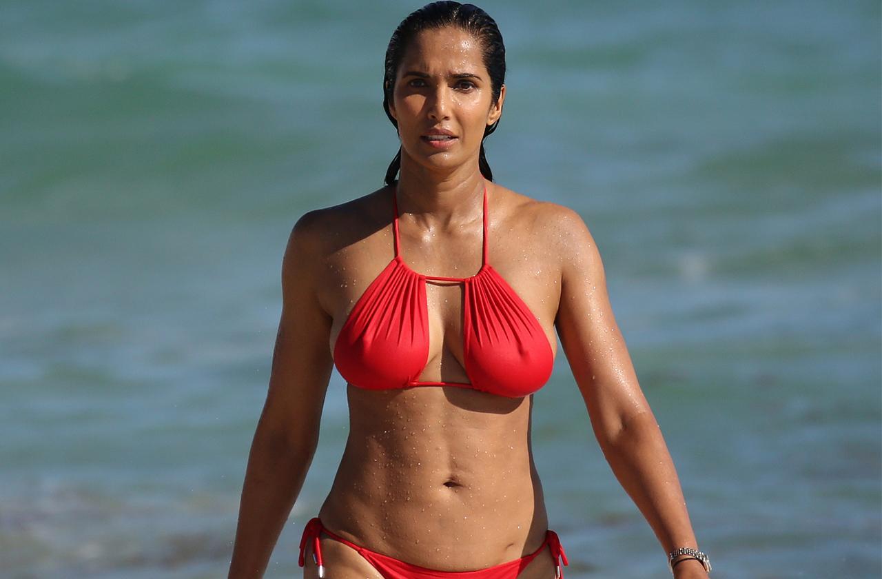 Padma Lakshmi – 'Top Chef' Host Heats Up Miami In Tiny Red Bikini