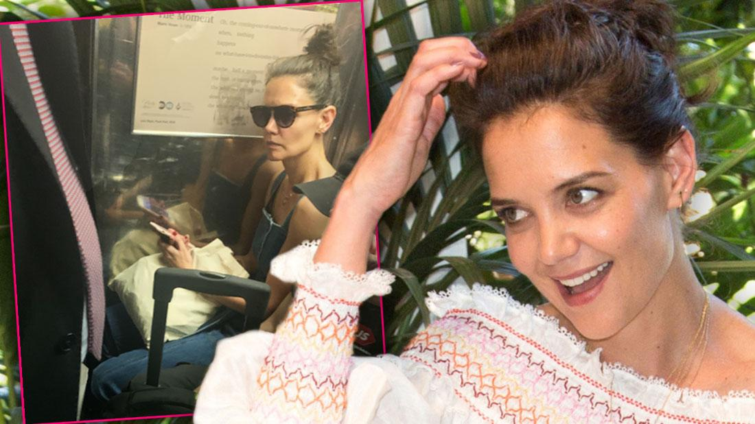 Inset of Katie Holmes Rides NYC Subway in Overalls and Sunglasses next to Katie Holmes in White Off the Shoulder Top