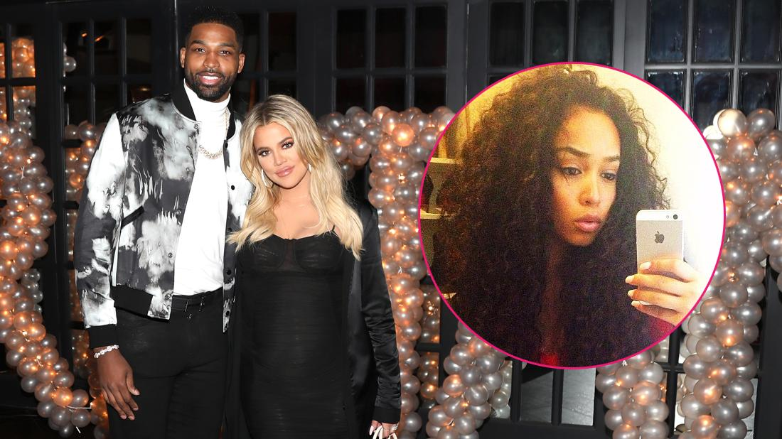 Tristna Thompson is wearing a jacket with that has clouds of smoke on it while wearing a white shirt underneath. Khloe Kardashian is wearing a black dress. Inset on the right side is a selfie of Tristan Thompson's ex-girlfriend Jordan Craig.
