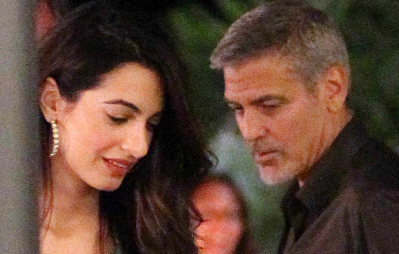 //George Clooney Amal Date Green Dress