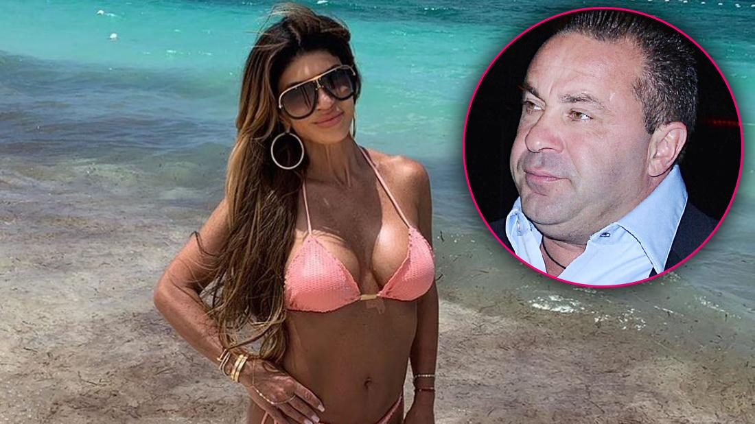 Teresa Giudice Poses In Pink Bikini On the Beach Smiling With Inset of Joe Giudice Looking Upset