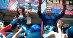 Homelander from Amazon's The Boys waves at the crowd