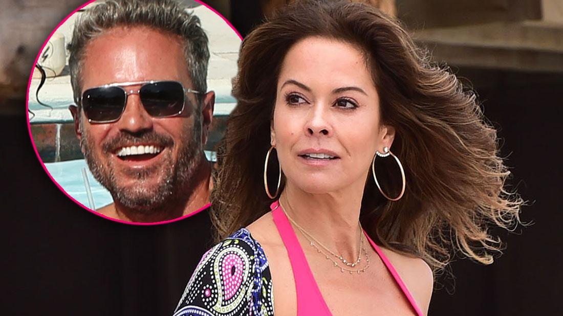 Brooke Burke Wearing A Pink Bikini Looking Left At Inset Of Scott Rigsby
