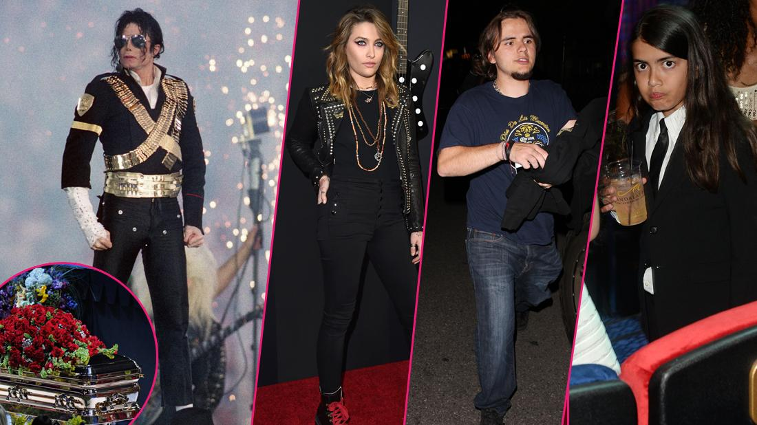 Michael Jackson wears a black jacket with three gold bands around him. Paris Jackson, Prince Jackson, Blanket Jackson are insetted on the left hand side of the image. A shot of Michael Jackson has been inset in the bottom left corner.