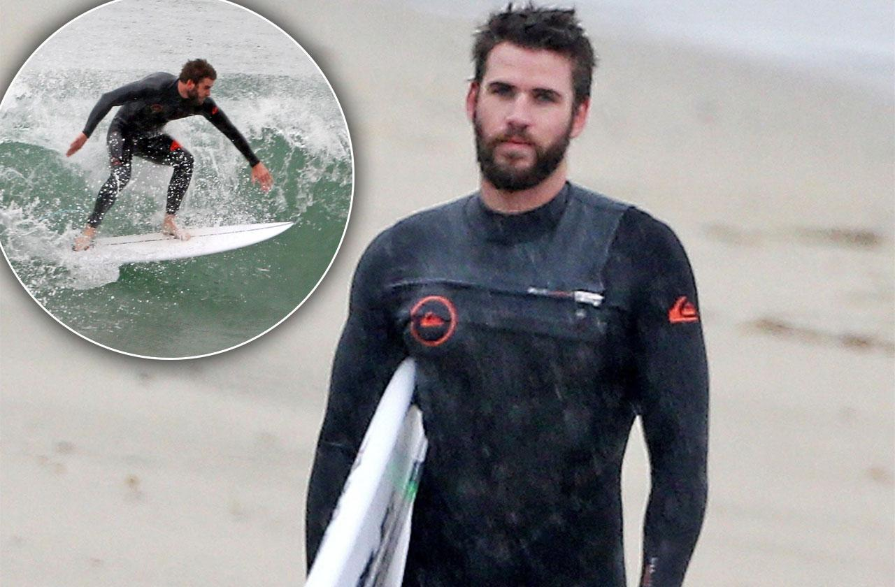 Liam Hemsworth Abs Beach Surf