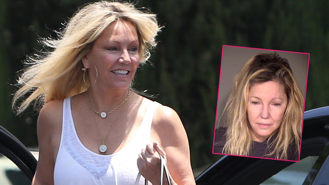 Heather Locklear looks happy and healthy as she goes to lunch with friends in Los Angeles. Inset, actress Heather Locklear is seen in a police booking photo after her arrest.