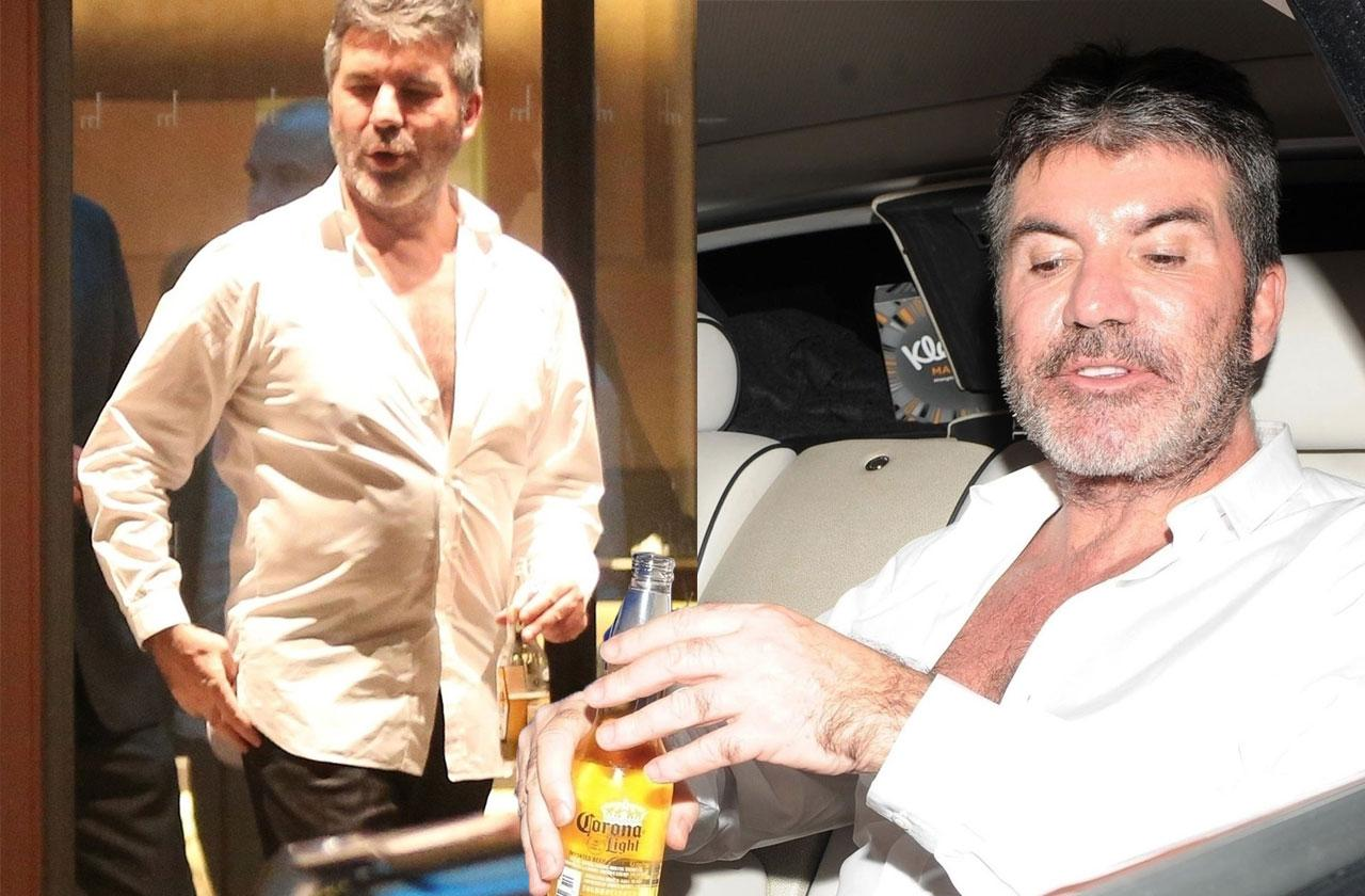 //Simon Cowell drinking after hospital pp