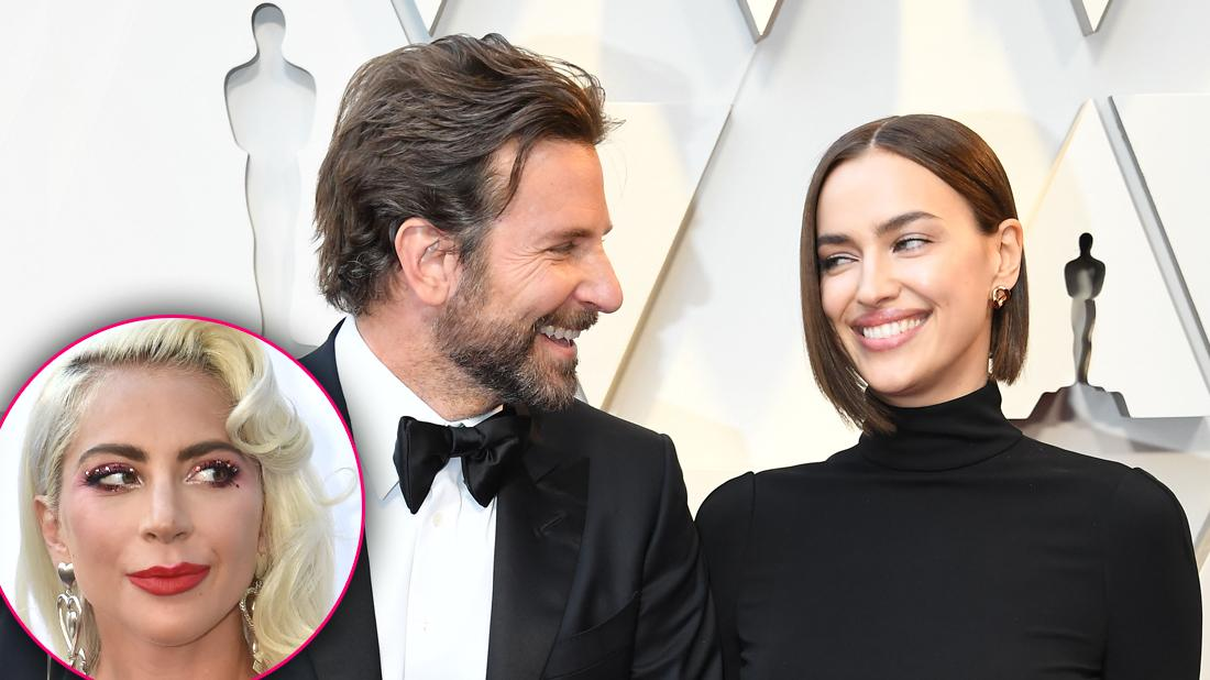 Bradley Cooper Irina Shayk Smiling At Each Other with Inset of Lady Gaga Breakup