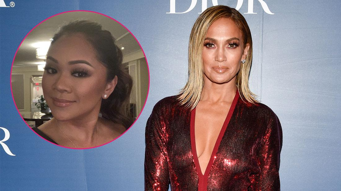 Main, Jennifer Lopez attends Hollywood Foreign Press Association x The Hollywood Reporter party. Inset, Roselyn Keo smiling.