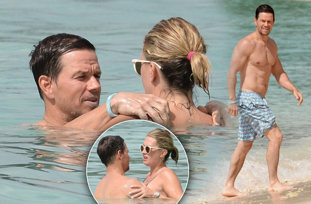 Mark Wahlberg Shirtless Muscles Wife Photos