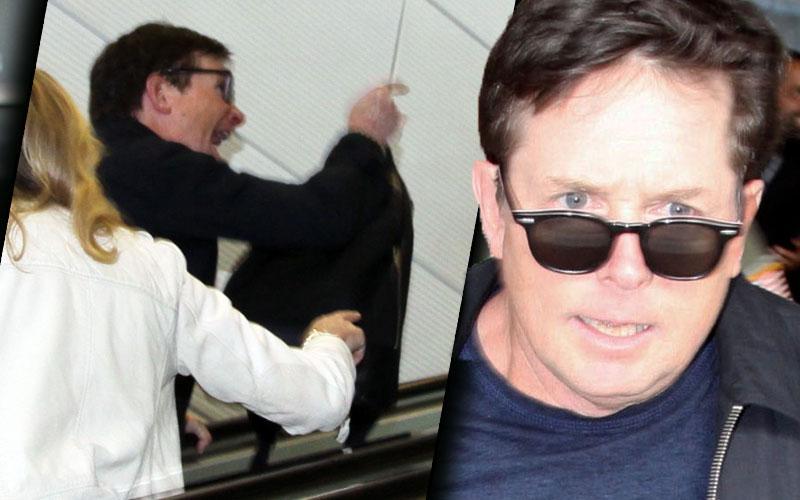 Michael J Fox Yells Fan Pushes Wife