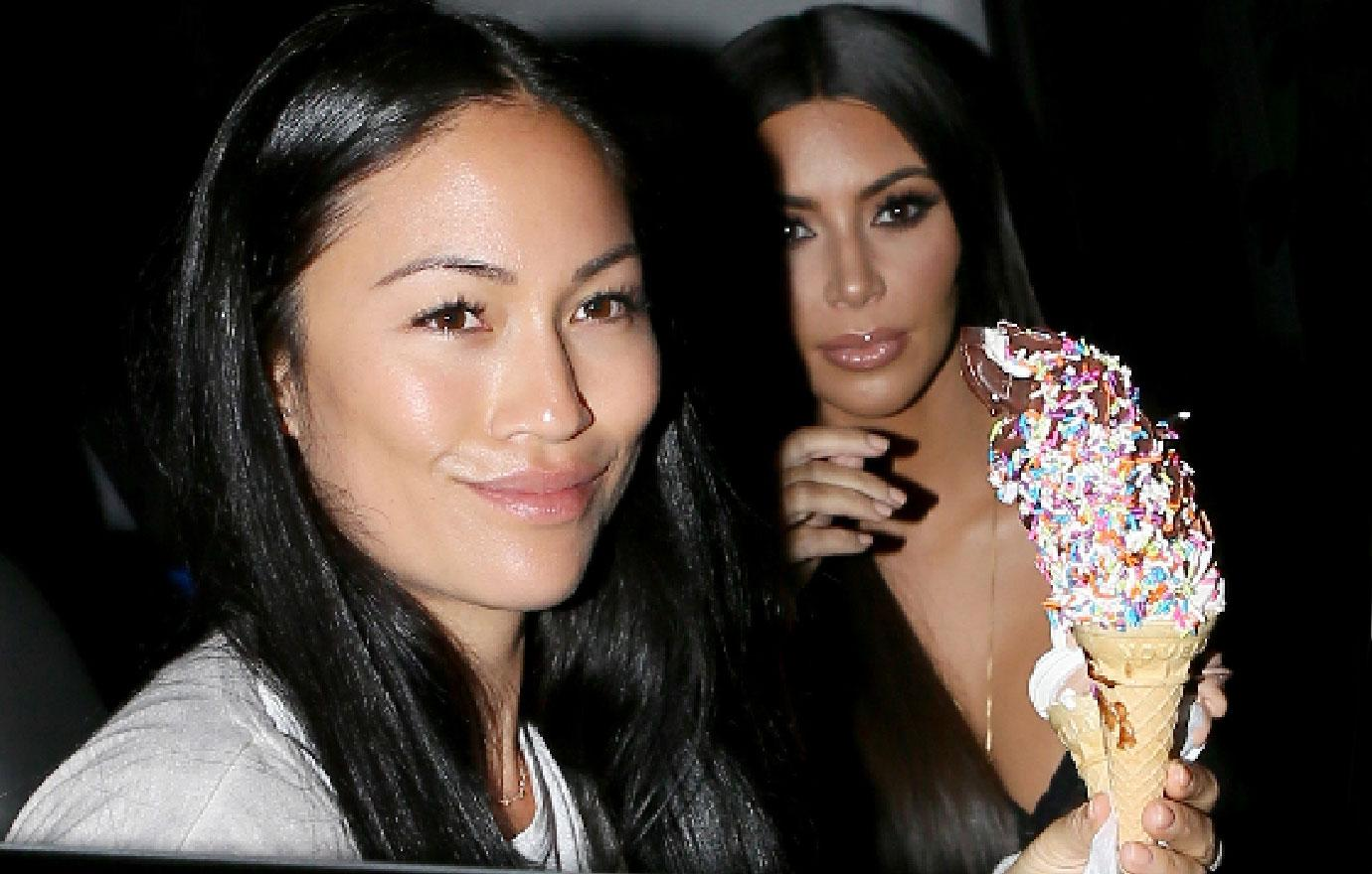 Kim Kardashian Gets Ice Cream Treat After Being A Make Up Model