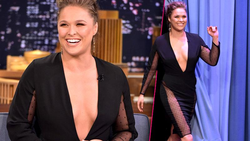 //ronda rousey boobs sheer dress tonight show pp