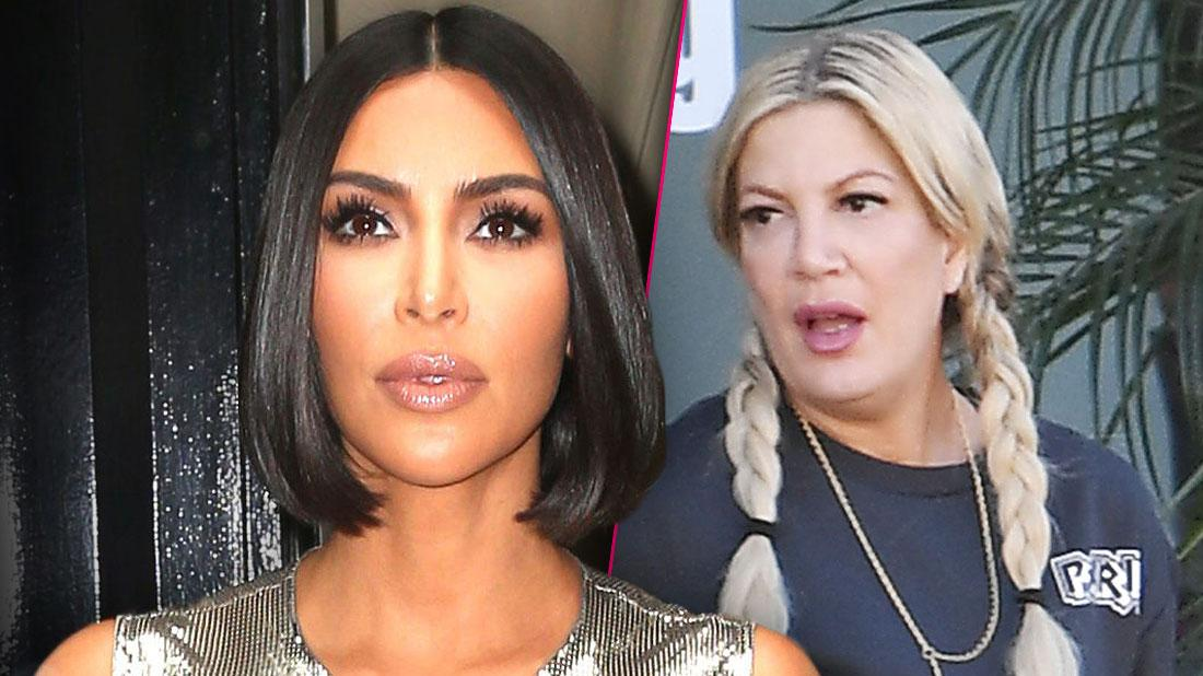 Kim Kardashian Wearing Metalic top and bob haircut Inset Tori Spelling With Braids and Blue T-Shirt