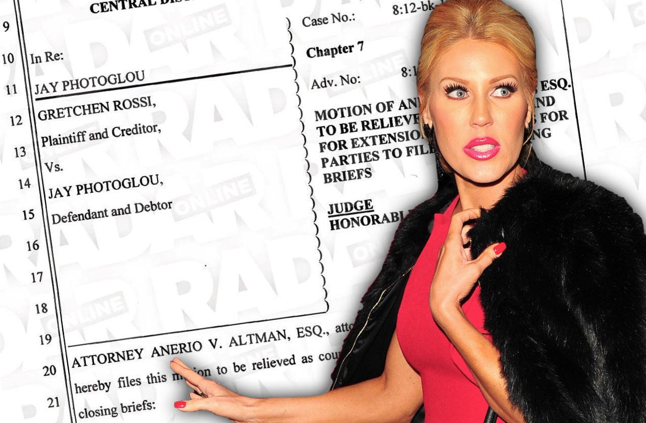 'RHOC' Gretchen Rossi Attorney Quits Legal Documents