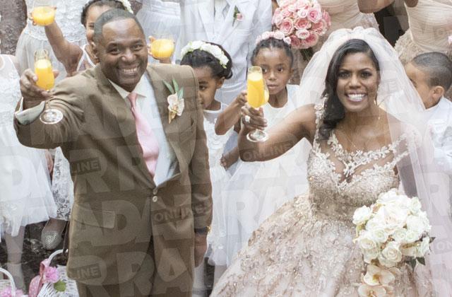 Omarosa Manigault Wedding Ceremony Pink Dress Diamonds PHOTO ALT