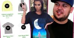 Kim Kardashian Holding Up Hand and Making Peace Sign Wearing Halfway Dead T-shirt Inset Sold Out Halfway Dead Inset Rob Kardashan Looking Happy Wearing Baseball Cap