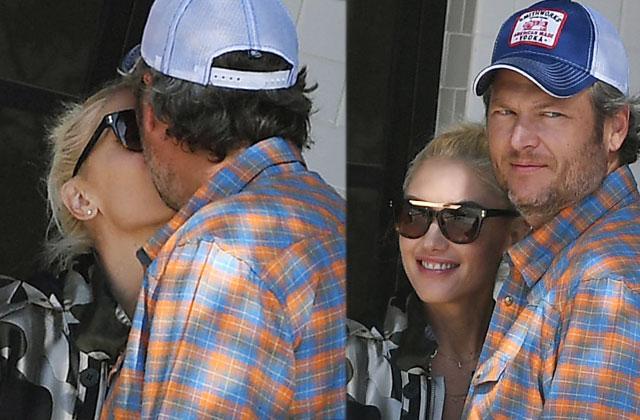 Blake Shelton Gwen Stefani Engaged PDA Kissing Patio Cafe Pics