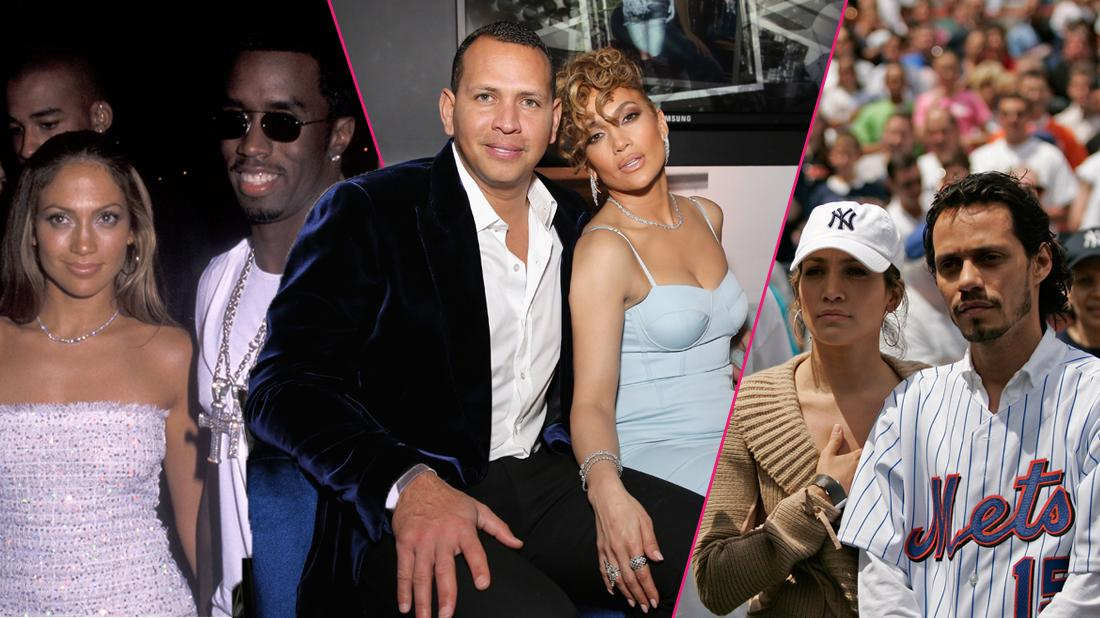 """Alex Rodriguez and Jennifer Lopez at the Guess Spring 2018 Campaign Reveal starring Jennifer Lopez on January 31, 2018 in Los Angeles, California; Actress Jennifer Lopez and husband Marc Anthony with New York Yankee Alex Rodriguez before a subway series game between the New York Mets and the New York Yankees at Shea Stadium in Queens, New York;Actress/Singer Jennifer Lopez and hip hop mogul Sean """"Puffy"""" Combs attend the 16th Annual MTV Video Music Awards After Party on September 9, 1999 at Ruby Foo's in New York City."""