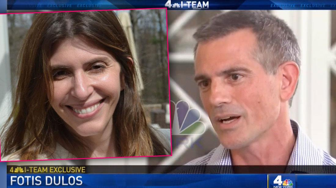 Inset Jennifer Doulos CT missing Mom On Screen Shot of Fotis Dulos Speaking
