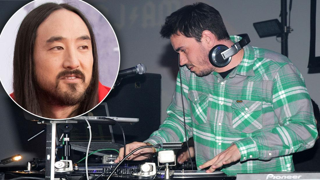 Inset Of Closeup Of Steve Aoki, DJ AM, Adam Goldstein Wearing Green, Gary and White Plaid Shirt DJing