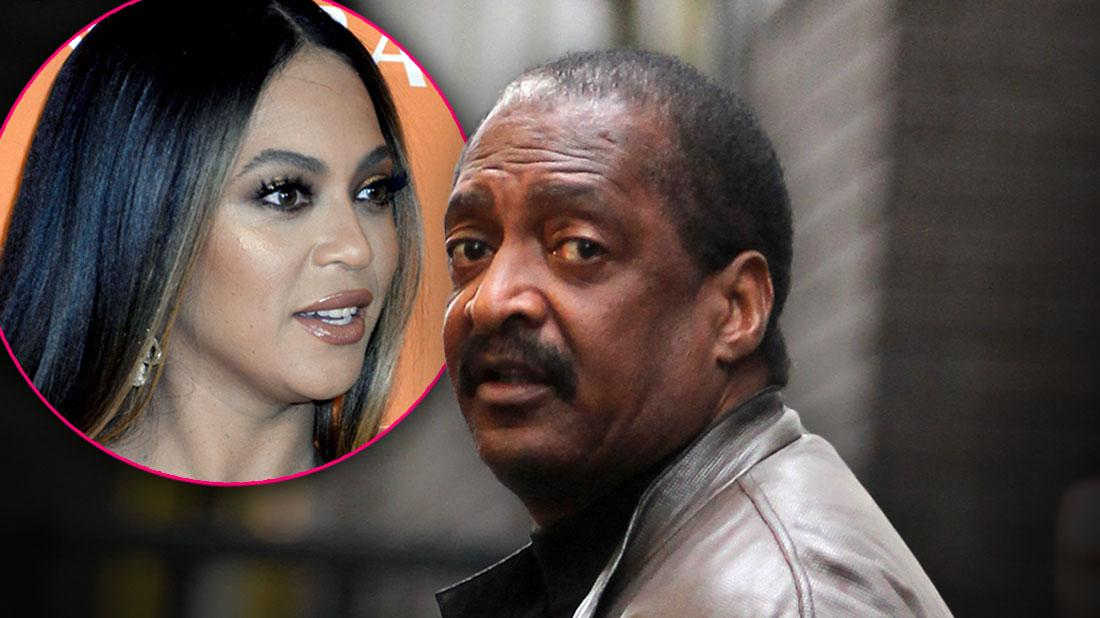 INSET Of Beyonce Looking Right, Matthew Knowles Looking Over His Left Shoulder At Camera Wearing Gray Leather JacketBeyoncé Father Mathew Knowles Reveals Breast Cancer Battle