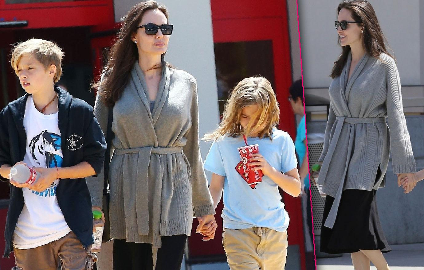 //thin looking angelina jolie takes daughters shiloh and vivienne shopping at target easd