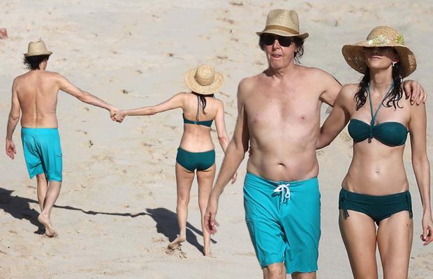 Shirtless Paul McCartney Wife Nancy Shevell Bikini Beach