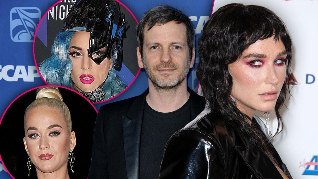 Inset of Lady Gaga, Inset of Katy Perry, Dr. Luke Wearing Black T-shirt and Blazer, Kesha With Dark Hair Wearing Blablack Blazer Looking Left, Kesha Ordered To Pay Over $373K In Dr. Luke Defamation Lawsuit