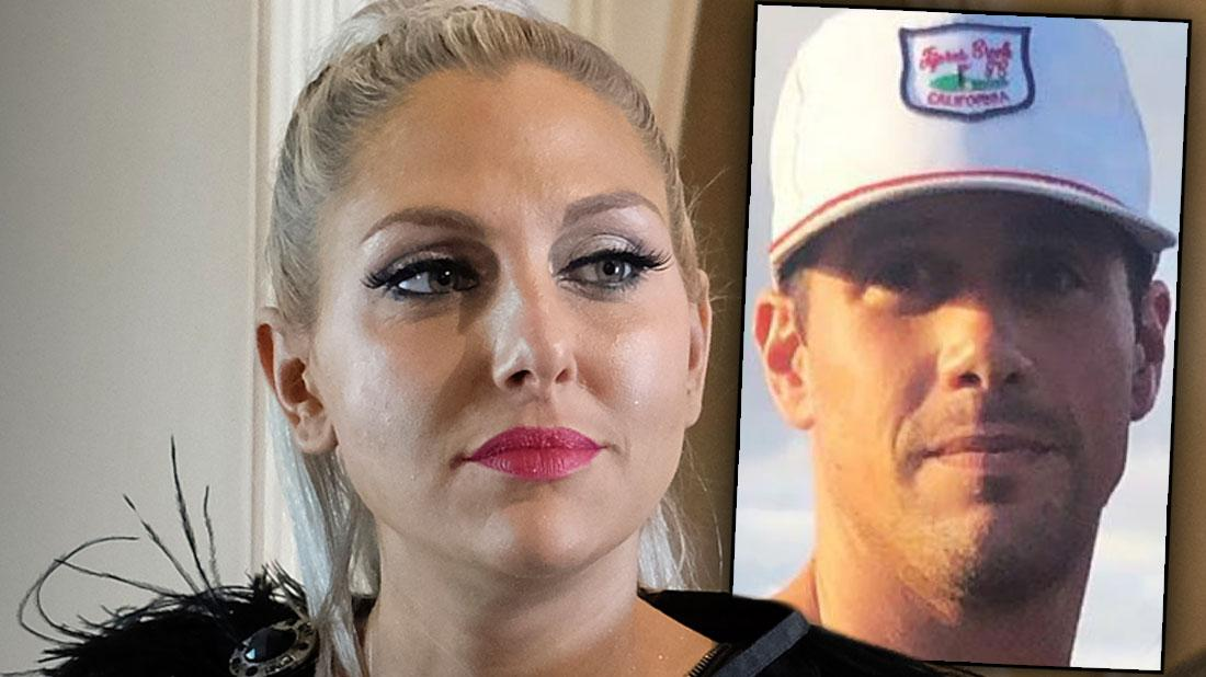 Gina Kirschenheiter Looking Scared Wearing Black Feather Dress Inset Of Husband Matt In Baseball Cap