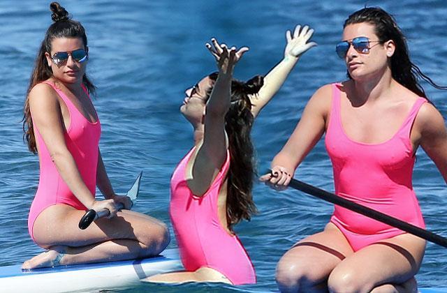 //lea michele weight gain bathing suit yoga maui pp
