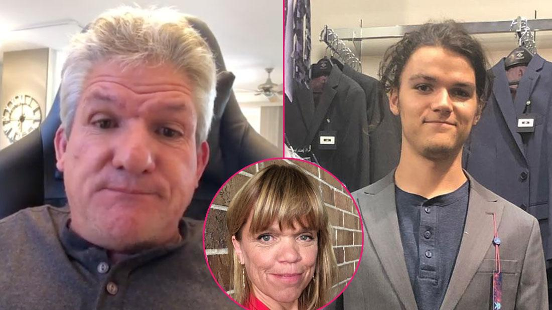 (L-R) Matt Roloff wearing a gray shirt; Amy Roloff in a red shirt; Jacob Roloff in a gray suit.