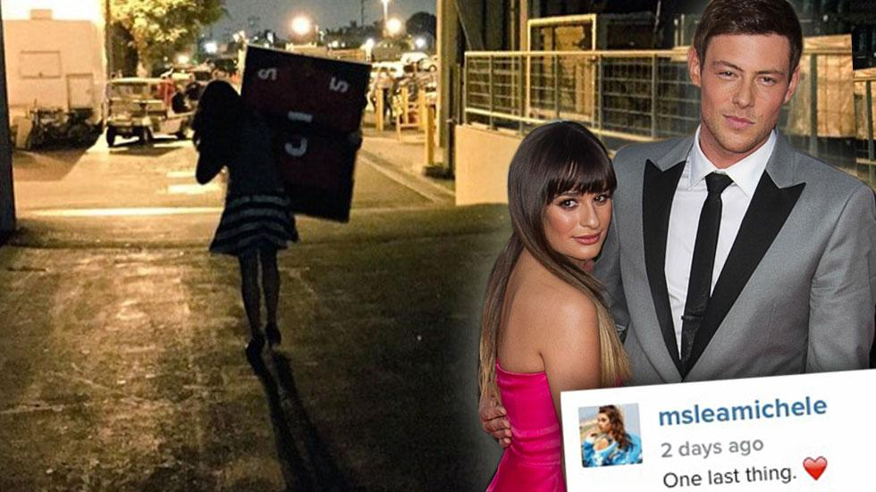 Lea Michele Takes Cory Monteith Jersey From 'Glee' Wrap