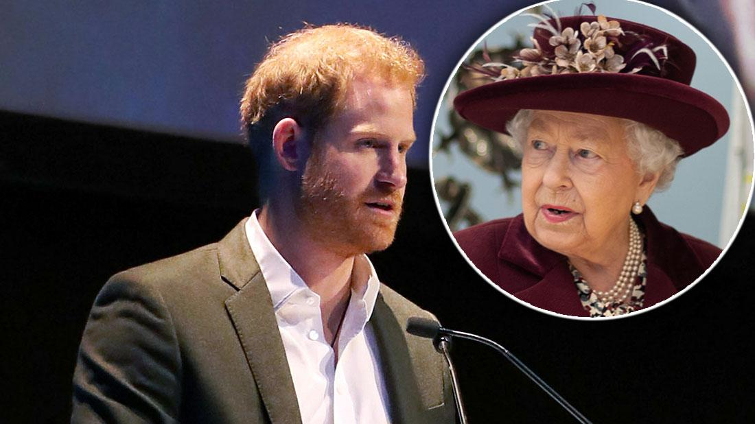 Inset Queen Elizabeth II, Prince Harry, Duke of Sussex, speaking at a sustainable tourism summit at the Edinburgh International Conference Centre.