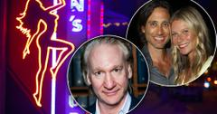 Neon Strip Club Pole Dancer Sign With Insets of Bill Maher and Gwyenth Paltrow Smiling