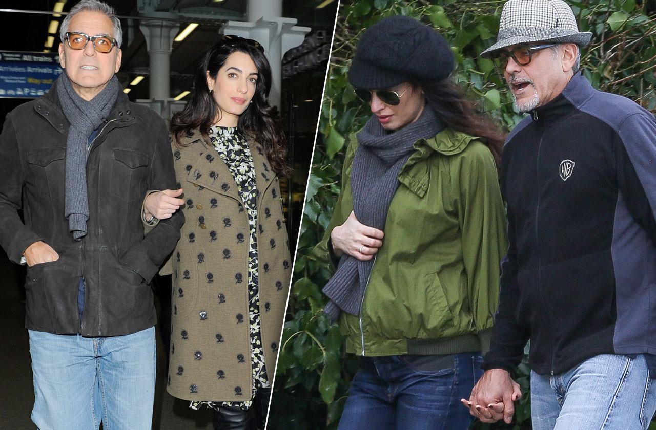 //George Clooney Amal Cloone Pregnant Twins Birth Hiding pp