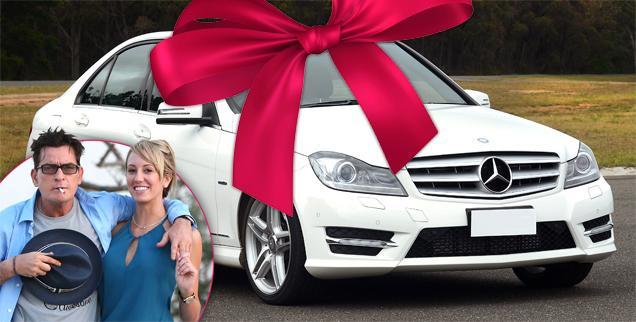 //charlie sheen brett rossi mercedes gift wide