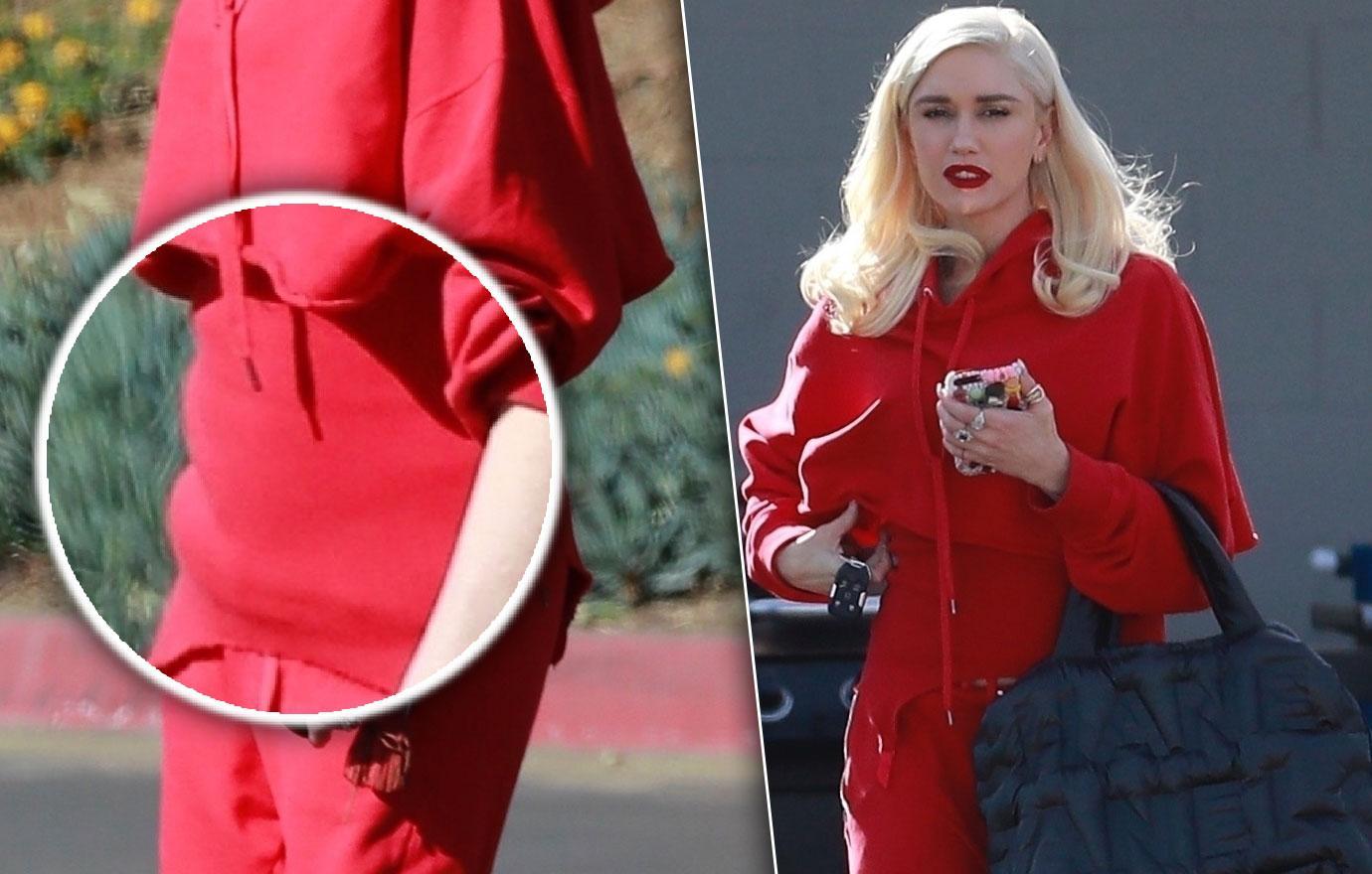 Gwen Stefani Dresses In Red For Holidays Pregnancy Rumors